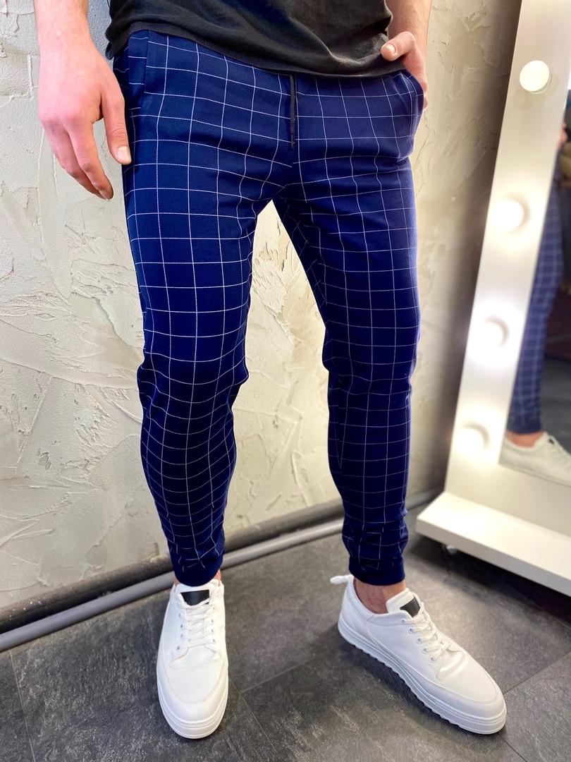 Мужские синие классические брюки, мужские классические штаны в клетку