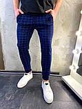 Мужские синие классические брюки, мужские классические штаны в клетку, фото 2