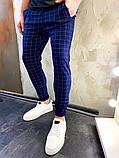Мужские синие классические брюки, мужские классические штаны в клетку, фото 3
