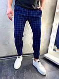 Мужские синие классические брюки, мужские классические штаны в клетку, фото 4