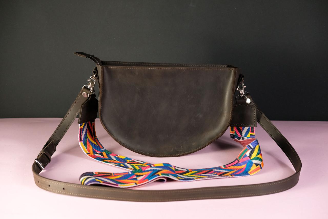 Сумка женская. Кожаная сумочка Фуксия Винтажная кожа цвет Шоколад