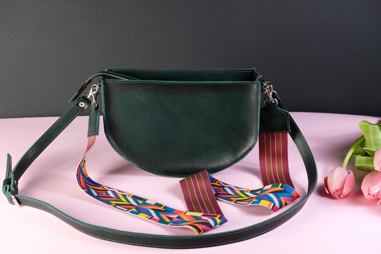 Сумка женская. Кожаная сумочка Фуксия Кожа Итальянский краст цвет Зеленый