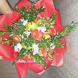 Цветочно- фруктовий букет подарунковий вітальний для жінки Марінет, фото 2