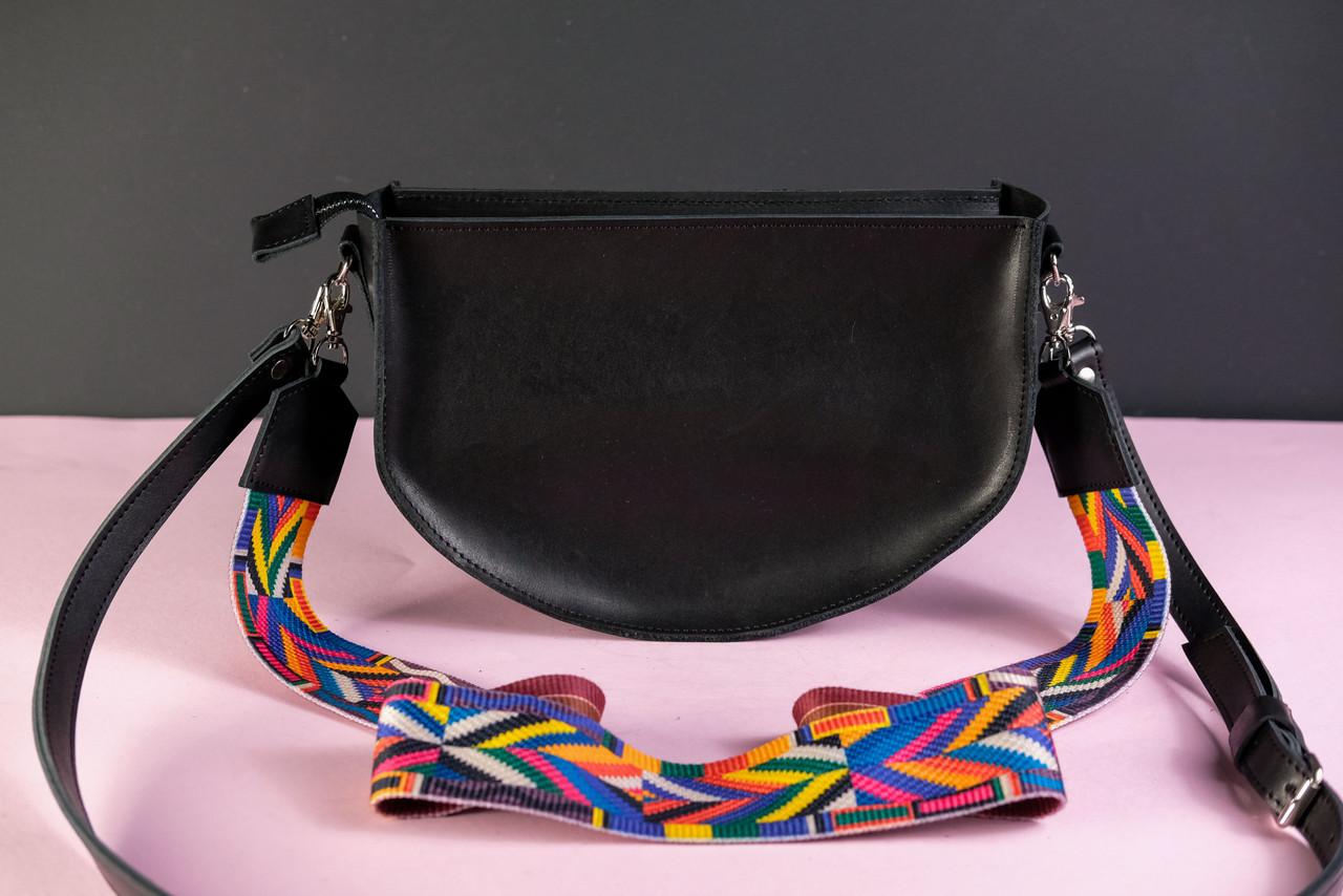 Сумка женская. Кожаная сумочка Фуксия Кожа Итальянский краст цвет Черный