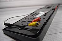 Камера заднего вида в рамке автомобильного номера с LED подсветкой Черная, фото 5