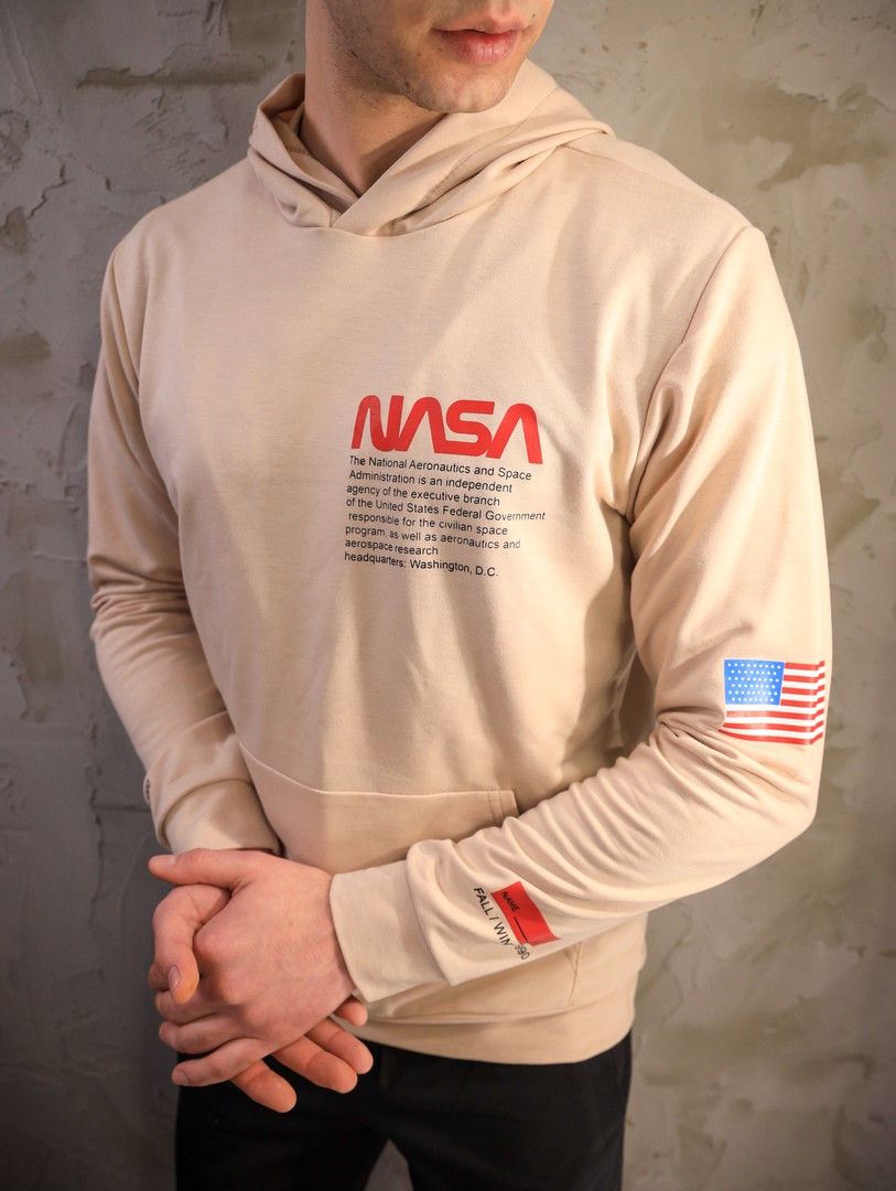 Мужское весеннее худи Nasa (beige), бежевое худи Наса