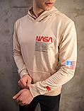 Мужское весеннее худи Nasa (beige), бежевое худи Наса, фото 2
