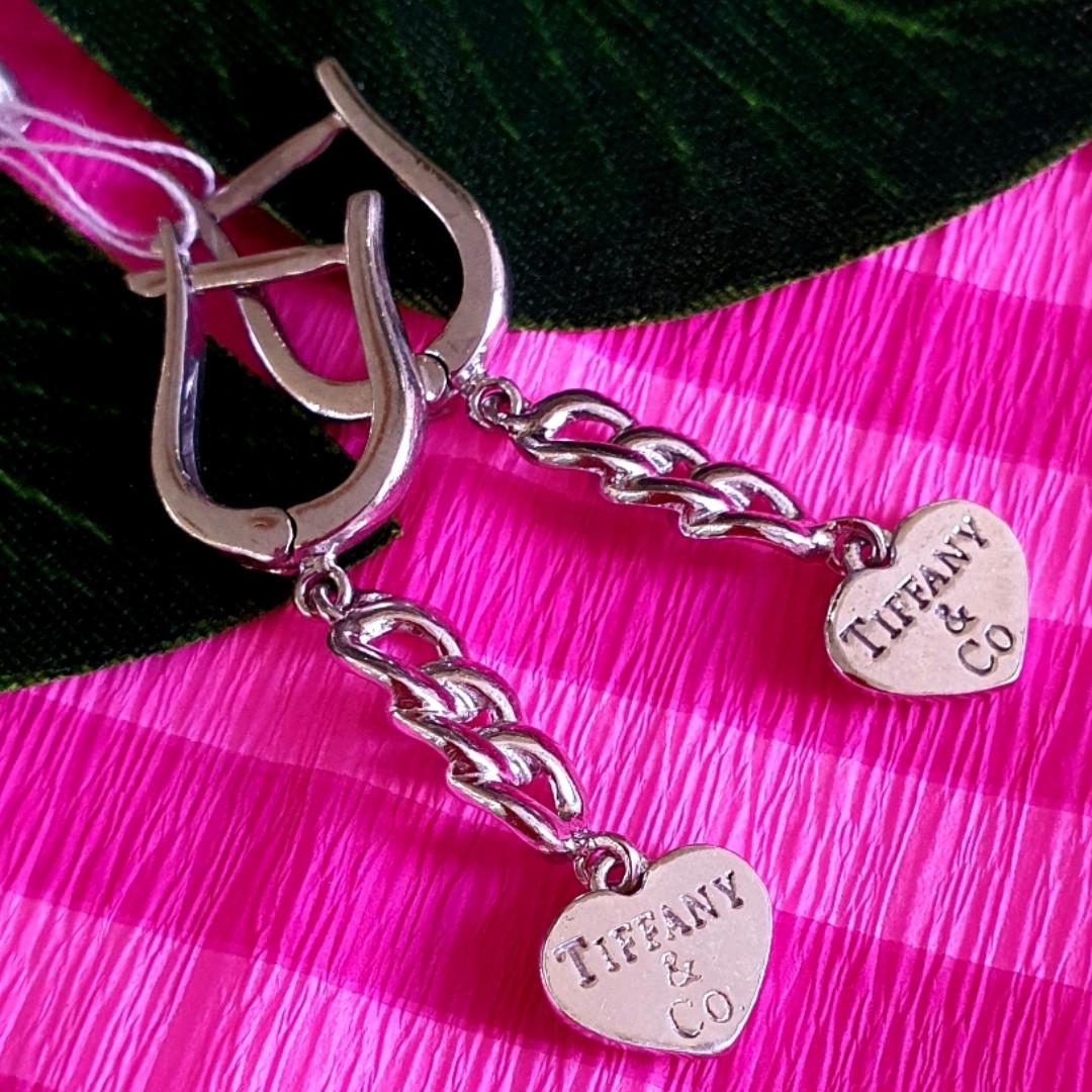Серебряные серьги Тиффани сердечки - Серьги Сердце серебро