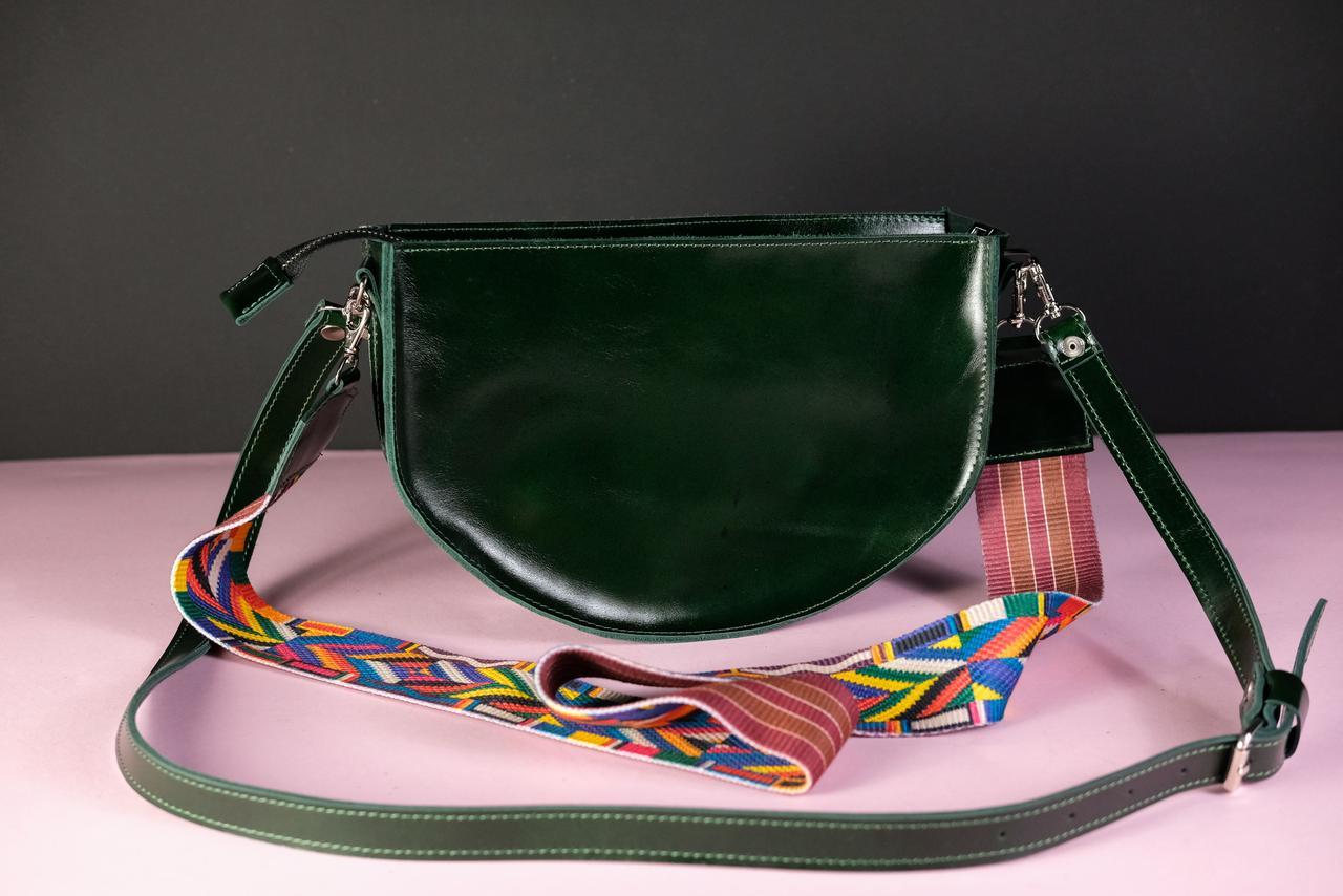 Сумка женская. Кожаная сумочка Фуксия Кожа Пуллап цвет Зеленый