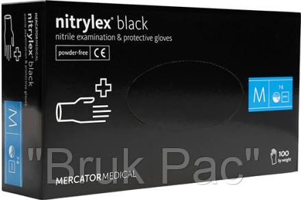 """Перчатки нітрілові чорні універсальні Mercator Nitrylex """"M""""  100 штук або 50 пар."""