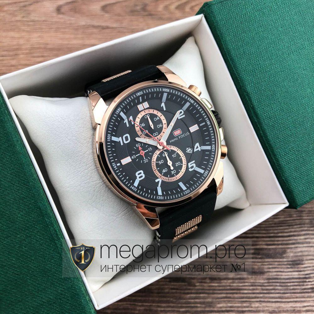 Часы Mini Focus розовое золото с черным циферблатом (08321)