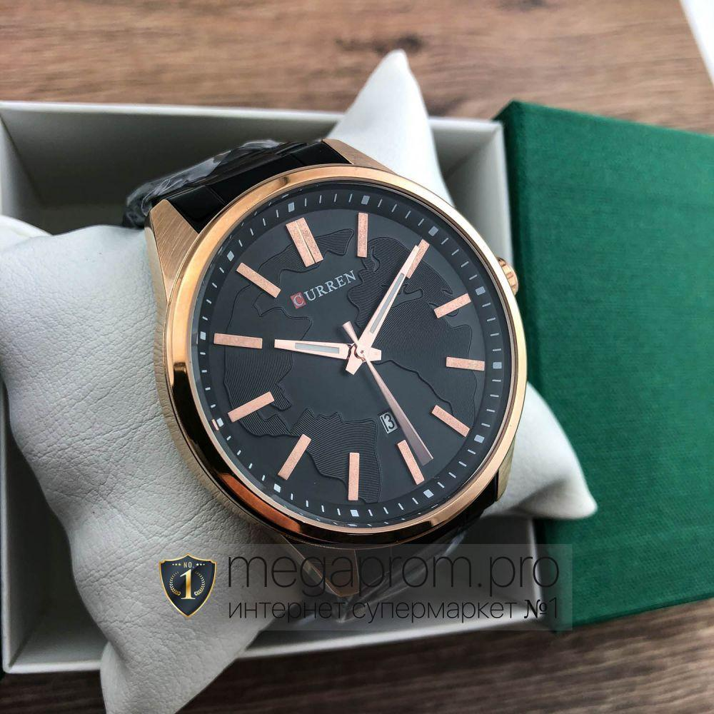 Часы Curren розовое золото с черным циферблатом (08337)