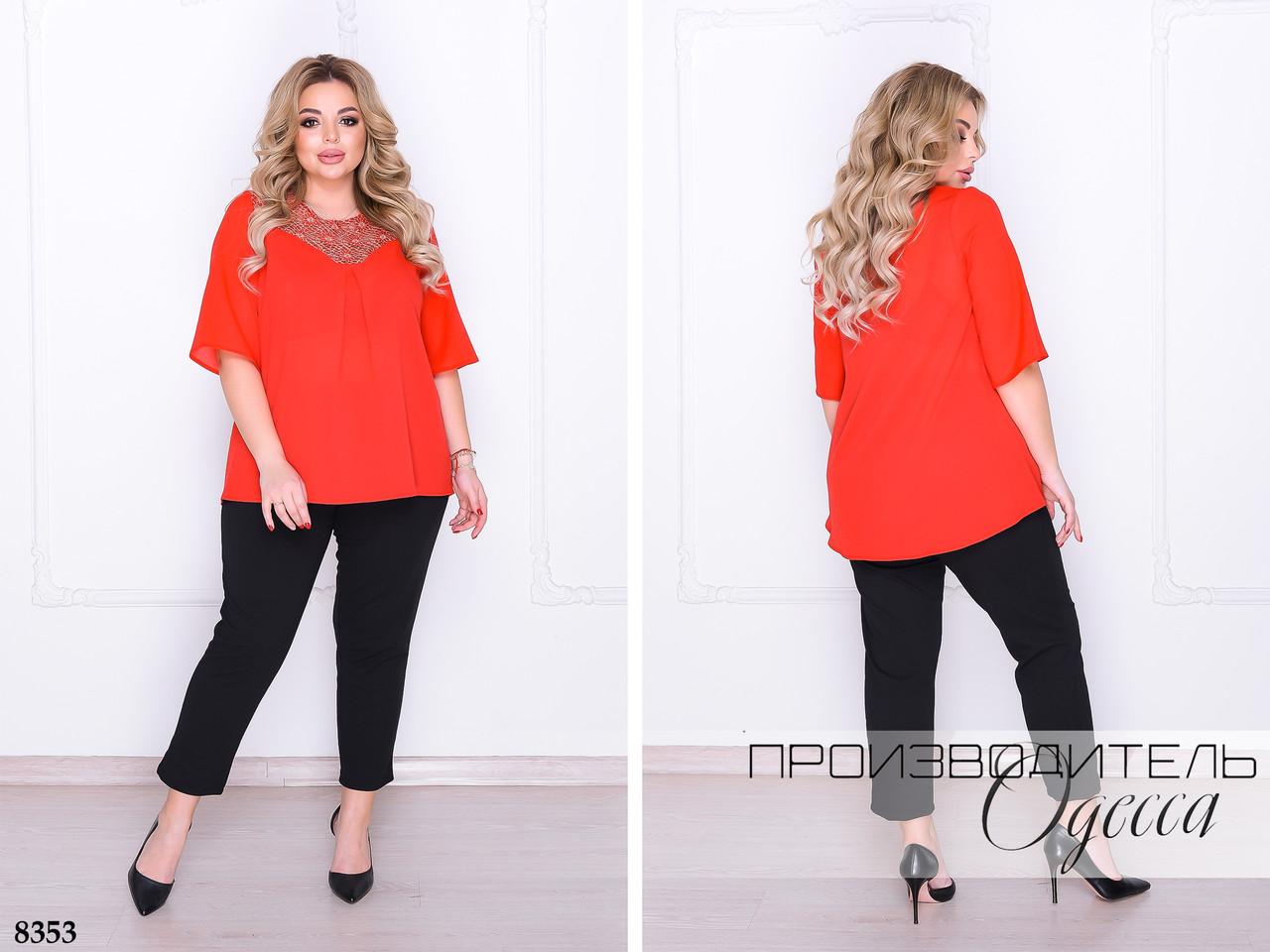 Костюм класичний блуза оздоблена гіпюром+штани креп-дайвінг 50-52,54-56,58-60,62-64