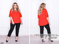 Костюм классический блуза украшена гипюром+брюки креп-дайвинг 50-52,54-56,58-60,62-64