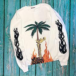 Свитшот белый Palm Angels BURNING SKELETON  • кофта Палм Анжелс