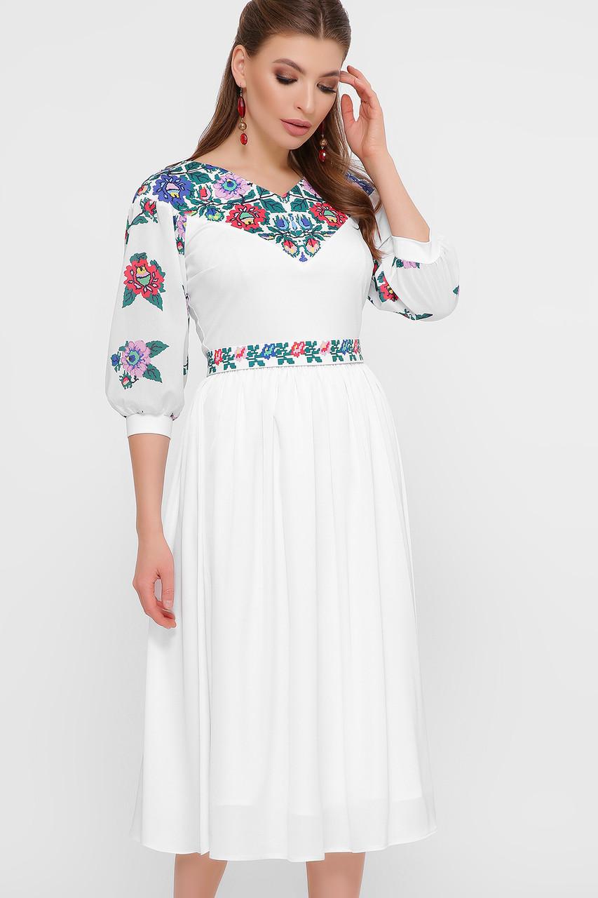 Белое женское платье в украинском стиле, платье вышиванка орнамент размер 42-50
