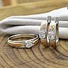 Серебряный набор с золотом Донна кольцо размер 17.5 + серьги 16х5 мм вставка белые фианиты, фото 3