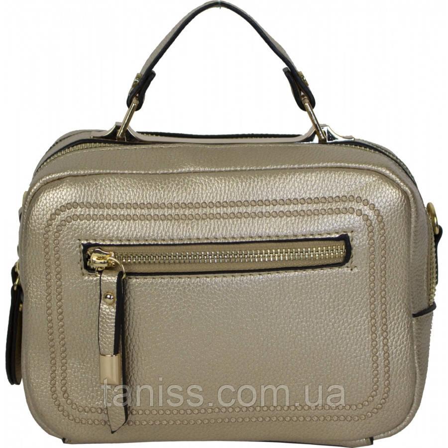 Женская,стильная,сумка, прямоугольный клатч,материал кожзам. длинная ручка,1 отделение, золото