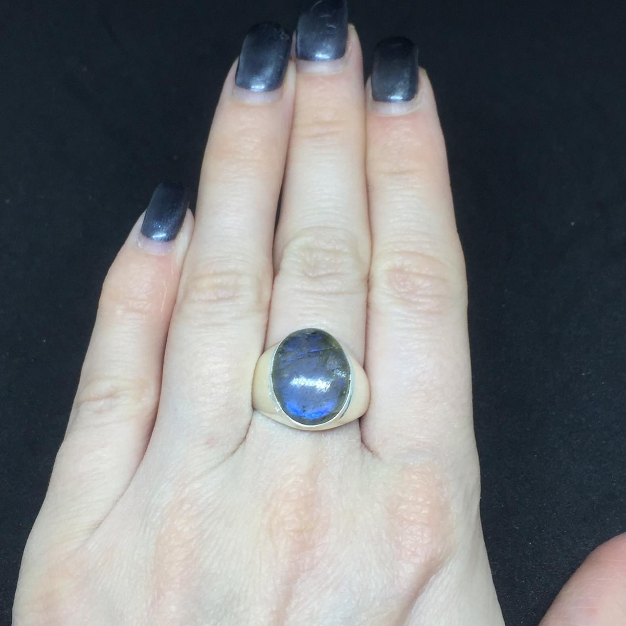 Лабрадор кольцо с натуральным лабрадором в серебре кольцо с лабрадором кольцо лабрадор 18 размер Индия