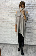 Свободное платье асимметрия серое