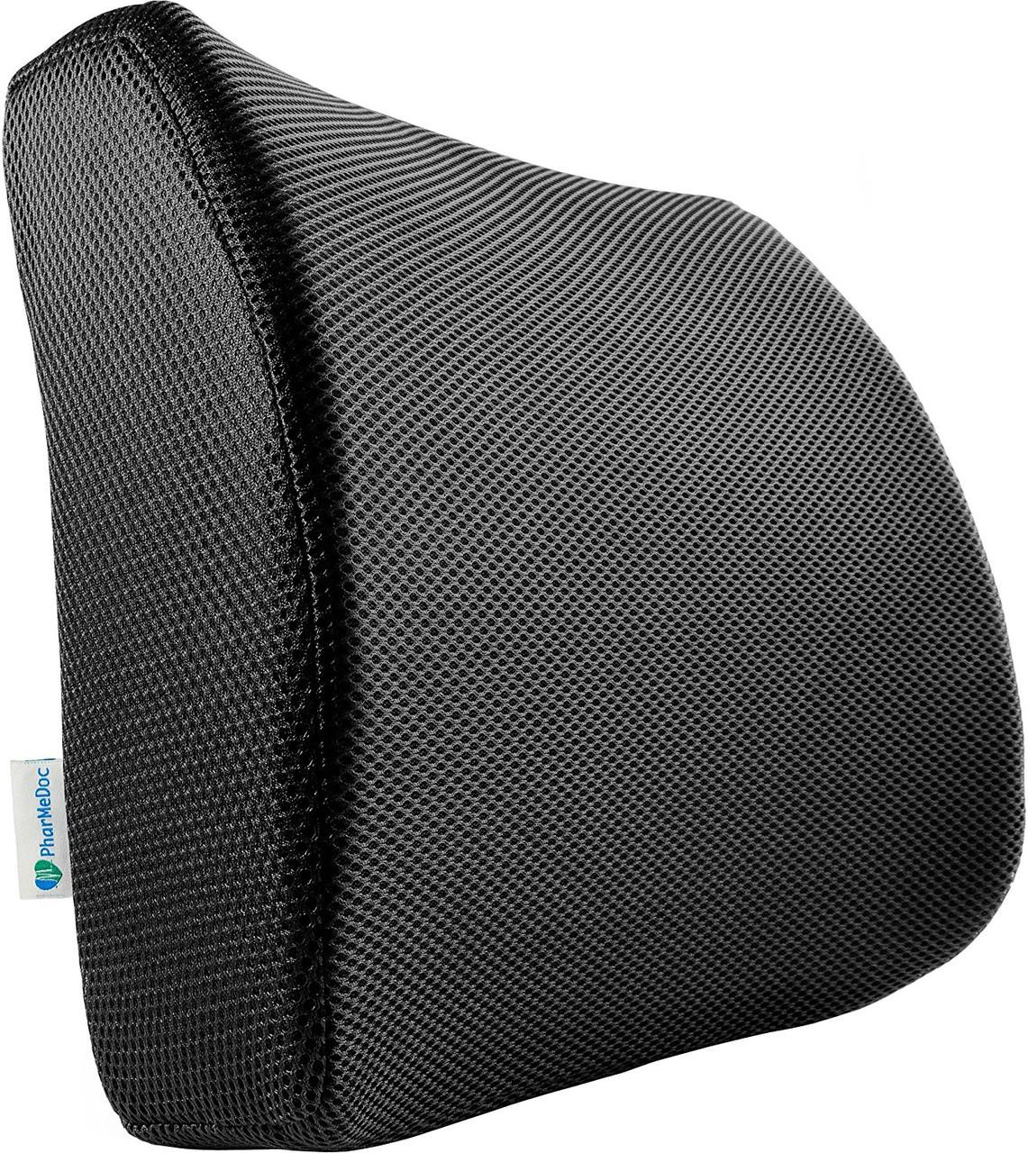 Ортопедическая спинка PharMeDoc на стул для поясничной поддержки для дома, офиса, автомобиля, черная