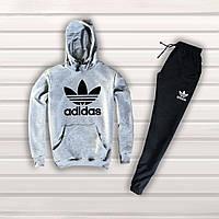 Мужской спортивный костюм Adidas с капюшоном | серый верх черный низ