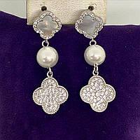 Сережки підвіски потрійні англійська застібка з срібла 925 Beauty Bar c перлами у стилі ван кліф