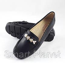 Женские Мокасины Кожаные Чёрны Слипоны (размеры: 36), фото 3