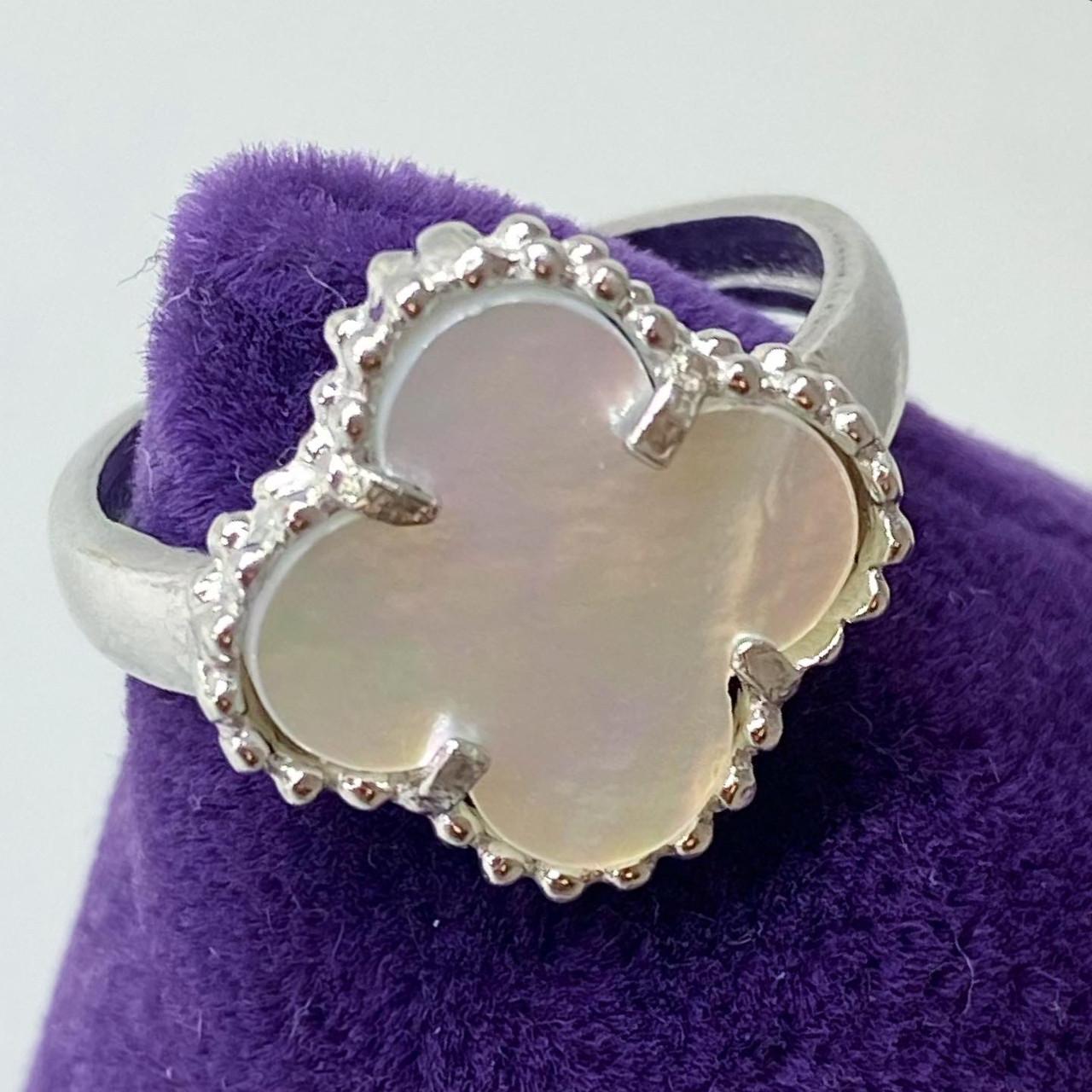 Кільце з срібла Beauty Bar c перлами ван кліф (16 розмір)