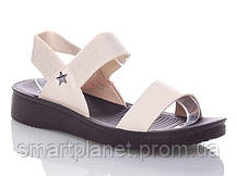 Женские Сандалии Босоножки Бежевые Летняя Обувь Резинка (размеры: 38), фото 2