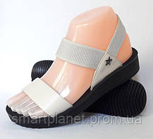 Женские Сандалии Босоножки Бежевые Летняя Обувь Резинка (размеры: 38), фото 3