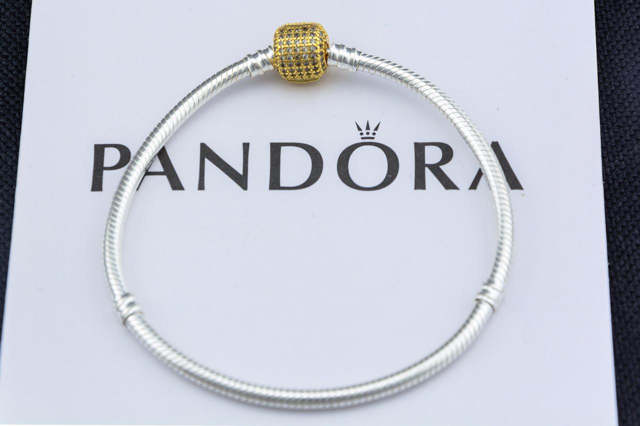 Серебряный браслет Pandora Shine Пандора Оригинал с позолотой замка и вставками фианита