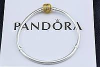 Серебряный браслет Pandora Shine Пандора Оригинал с позолотой замка и вставками фианита, фото 1