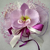 Букетики на ручки машини (комплект) бузкові орхідеї, стрічка, сітка