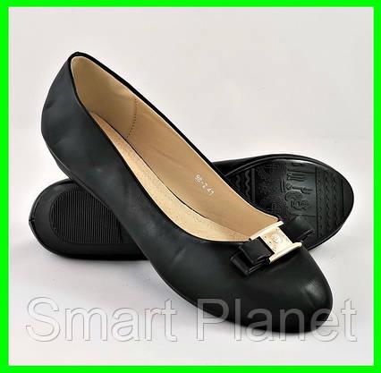 Женские Балетки Чёрные Мокасины Туфли (большие размеры: 41), фото 2