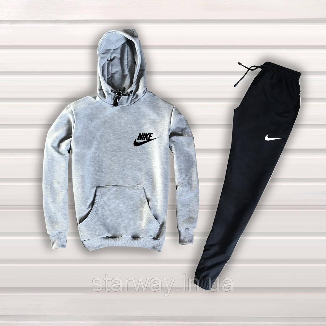 Спортивный трикотажный костюм Nike с капюшоном classic logo | серый верх черный низ