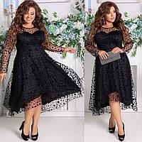 Вечернее черное платье с подкладкой креп дайвинг+турецкий флок рукав сетка  размер: 48-50, 52-54, 56-58