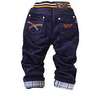 Вельветовые детские джинсы на флисе для мальчика.