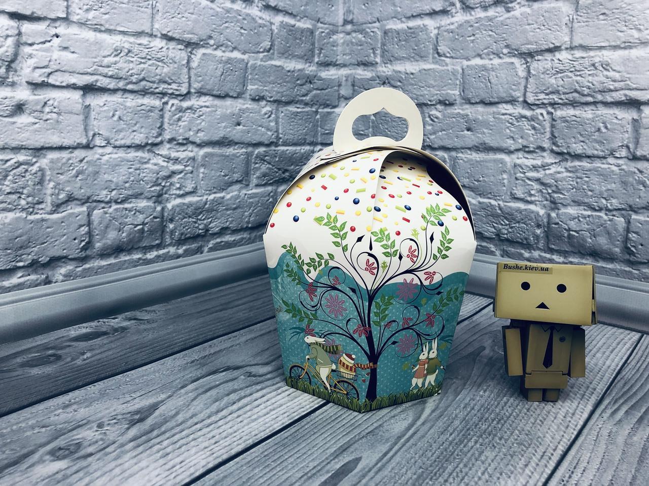 *10 шт* / Ø110х160 мм / печать-Дерев / Коробка для кулича / Упаковка для пасхи / Мален / Пасха