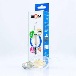 Світлодіодна лампа Biom FL-315 C35 LT 4W E14 3000K свічка на вітрі