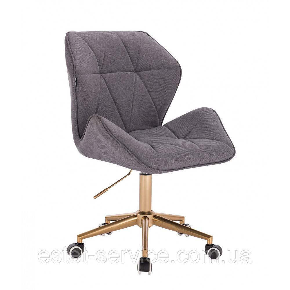 Кресло косметическое HR212 на золотых колесах в оббивке серой ТКАНЬЮ