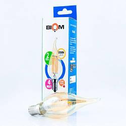 Світлодіодна лампа Biom FL-415 C35 LT 4W E14 2530K Amber свічка на вітрі