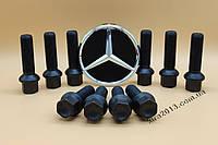 Черные болты Мерседес М14х1,5 45мм сфера Колесные болты Mercedes М14х1,5х45 сфера чёрный цинк.