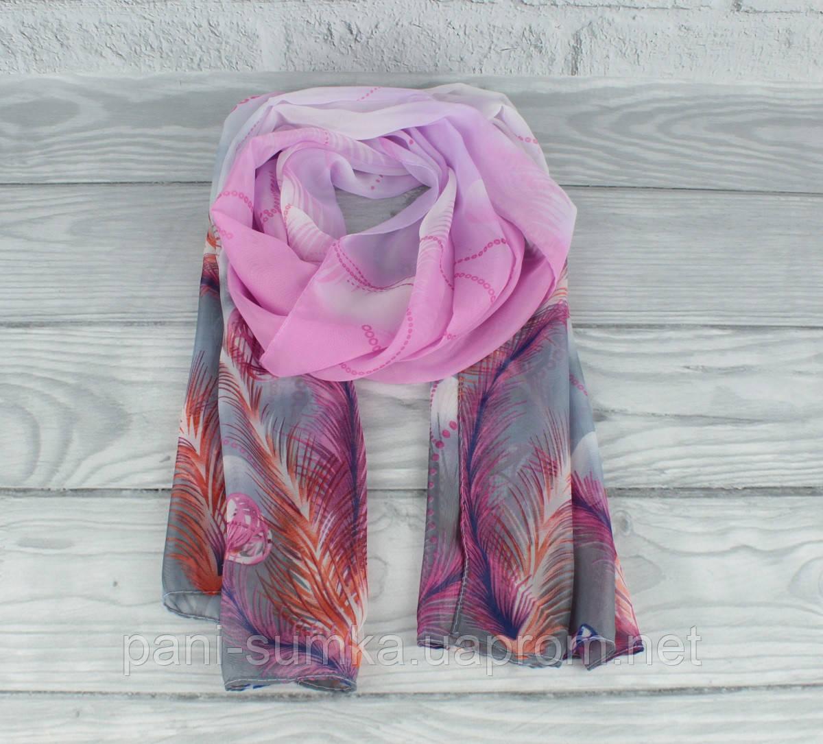 Шифоновий повітряний шарф 0010-02 різнобарвний з принтом