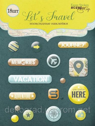 Набор эпоксидных наклеек 16шт от Scrapmir Let's Travel (eng.)
