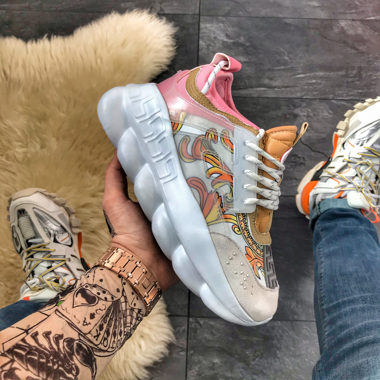 Versace Chain Reaction White Pink