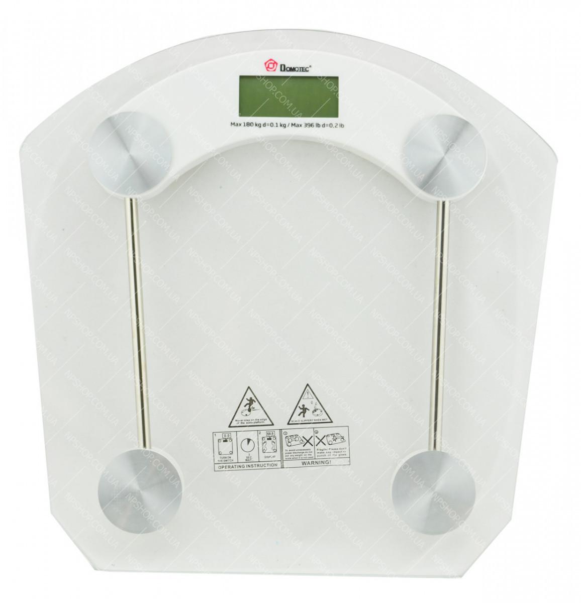 Весы напольные стеклянные (квадратнные) Domotec MS-2003B 180 кг #S/O