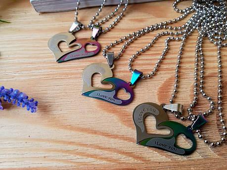 Кулон парный радужные сердечка I love you из нержавеющей стали, фото 2