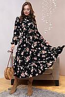 Чёрное платье с цветочным принтом с рюшами, софт