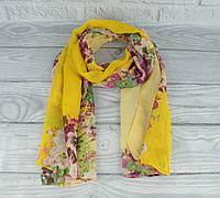 Шифоновый воздушный шарфик 0010-06 желтый, цветочный принт, фото 1